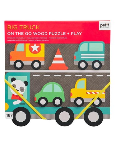 Petit Collage Puzzle Drewniane Samochody