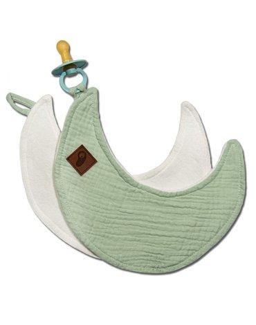 Hi Little One - Przytulanka muślinowa dou dou z zawieszką na smoczek cozy muslin pacifier clip Moon Mint