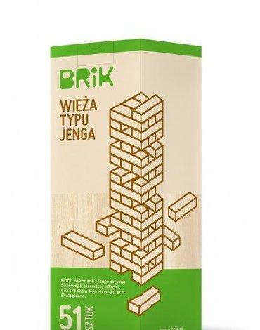BRIK Drewniana wieża 51 klocków - gra zręcznościowa