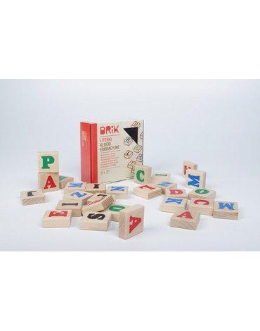 Brik - Klocki drewniane literki 27szt. (54 literki), nauka i zabawa w jednym