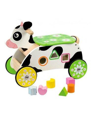 BabyBigjigs - Drewniany jeździk szalona Krowa