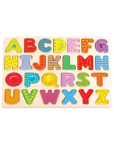 Lelin - Puzzle drewniane układanka alfabet - duże litery