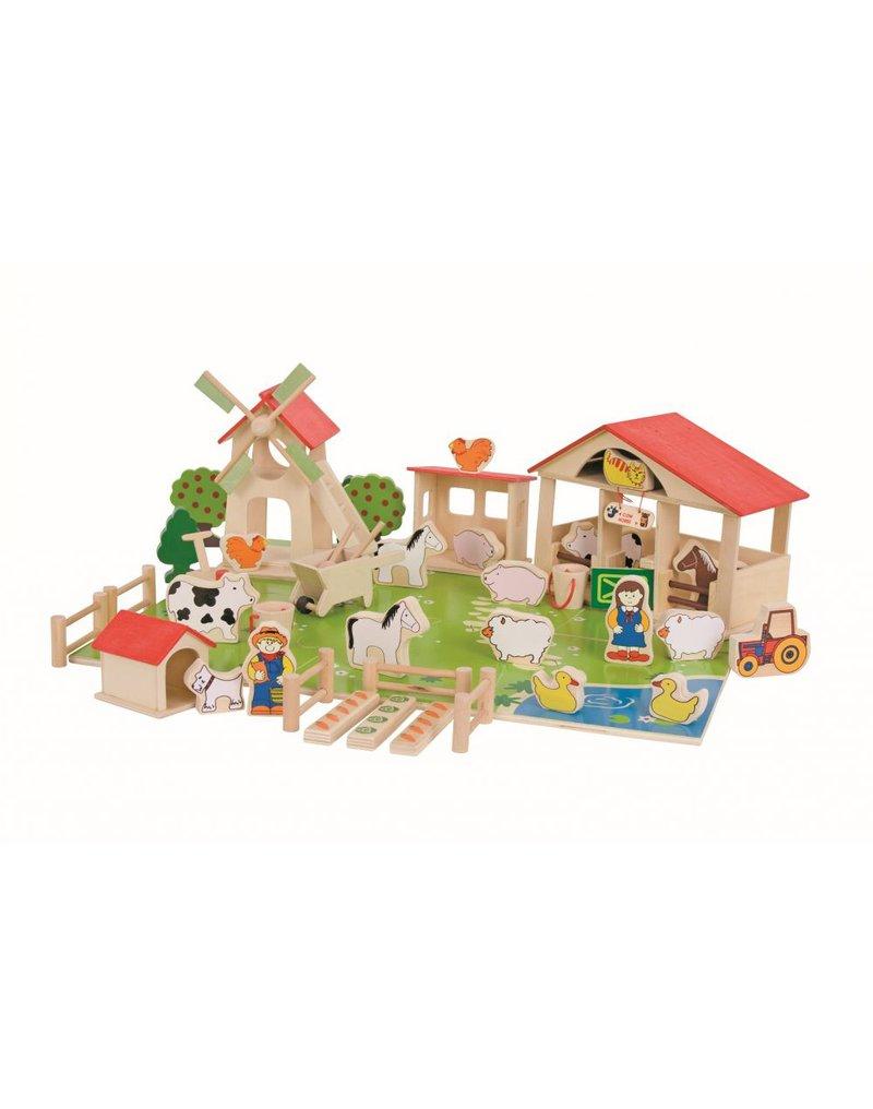 Bigjigs - Drewniany zestaw do układania i zabawy Farma