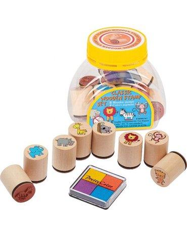 Goki® - Goki Zestaw 8szt. drewnianych stempelków z tuszem