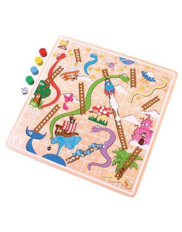 Bigjigs - Klasyczna drewniana gra Węże i drabiny