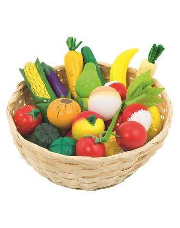 Goki® - Drewniane owoce i warzywa w koszyku 21szt.