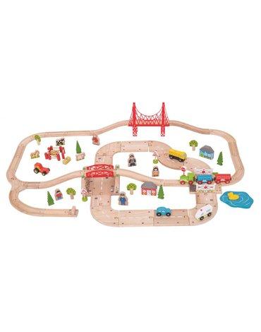 BigjigsRail - Zestaw drogowo-kolejowy - 80 elementów