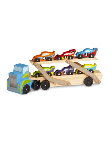 Melissa & Doug - Wielka Ciężarówka z wyścigówkami