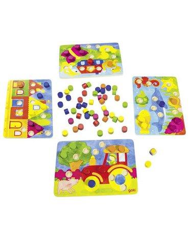 Goki - Gra rodzinna lub układanka kolorowe kostki 2 w 1