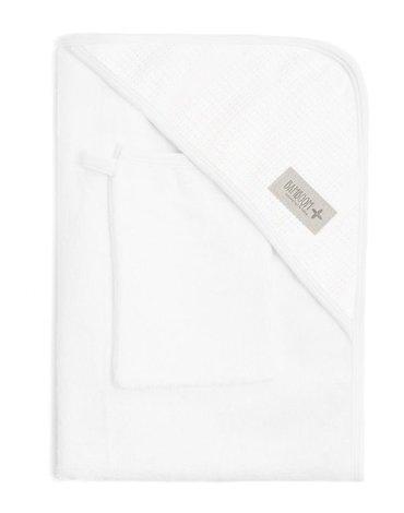 Bamboom - Ręcznik Bambusowy z Kapturkiem + Myjka, Biały, 0m+