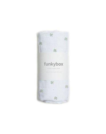 Funkybox - Pieluszka Bawełniana 70x70, Olive Lucky Clover, 0m+