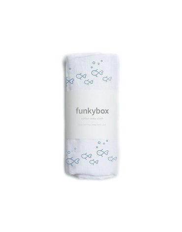 Funkybox - Pieluszka Bawełniana 70x70, Vintage Blue Fish, 0m+