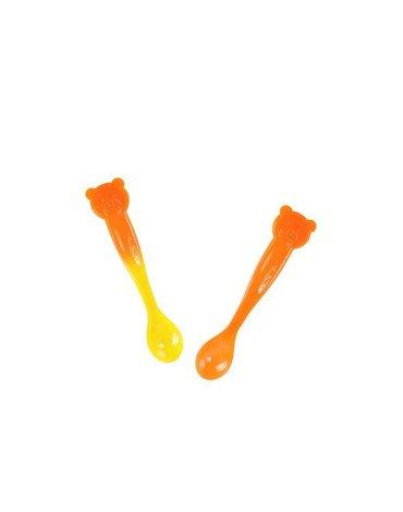 KIDodo - Łyżeczki Zmieniające Kolor, Pomarańczowy Miś, 6m+, 2 szt.