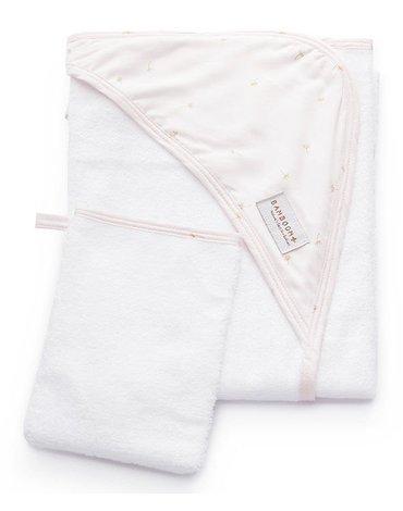 Bamboom - Ręcznik Bambusowy z Kapturkiem + Myjka, Pink Flower, 0m+