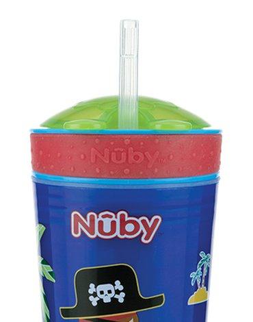 Nuby - Kubek z silikonową słomką i pojemnikiem na przekąski  270ml, 128g ID10373