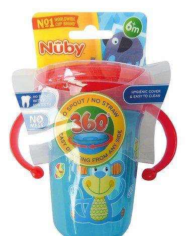 Nuby Kubek 360° dekorowany 240 ml z uchwytami i nakładką ochronną Niebiesko-Czerwony ID10410AQUA