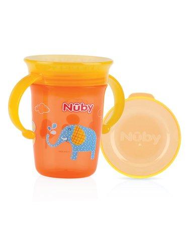 Nuby Kubek 360° dekorowany 240 ml z uchwytami i nakładką ochronną  Pomarańczowy ID10410ORANGE