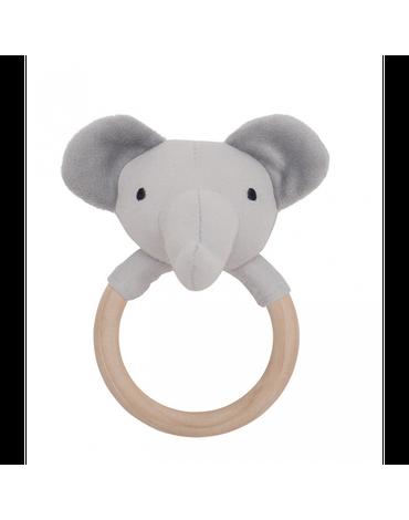 Grzechotka-gryzak drewniana szary słoń Jabadabado