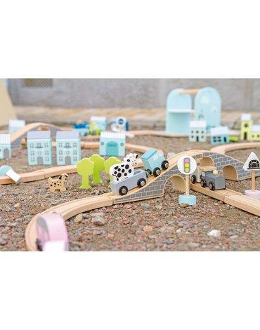 Drewniany tor samochodowy, niebieski Jabadabado