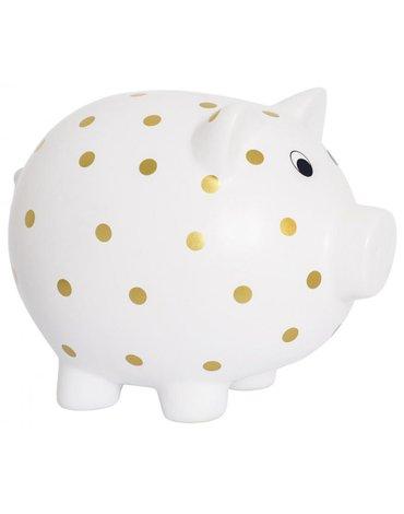 JaBaDaBaDo - Duża skarbonka świnka w złote kropki