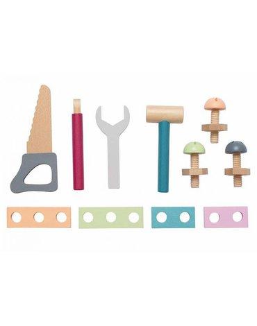 Drewniane narzędzia w skrzynce, kolorowe Jabadabado
