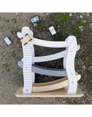 JaBaDaBaDo - Drewniana zjeżdżalnia dla aut srebrno-szara