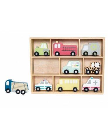 Drewniane pojazdy - zestaw aut z półką,  JABADABADO