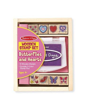 Melissa&Doug® - Melissa, Zestaw drewnianych stempelków z tuszem – Serduszka i motylki