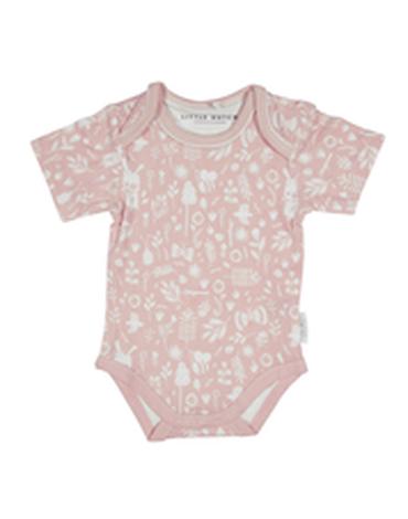 Little Dutch Bawełniane body z krótkim rękawkiem Adventure Pink 74/80 180077
