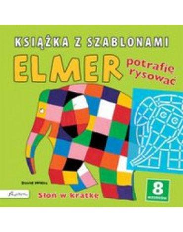 Papilon - Elmer. Książka z szablonami. Potrafię rysować. Słoń w kratkę