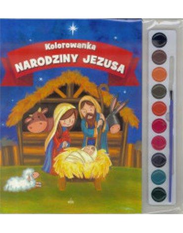 Wydawnictwo Diecezjalne Sandomierz - Narodziny Jezusa. Kolorowanka + farbki i pędzelek