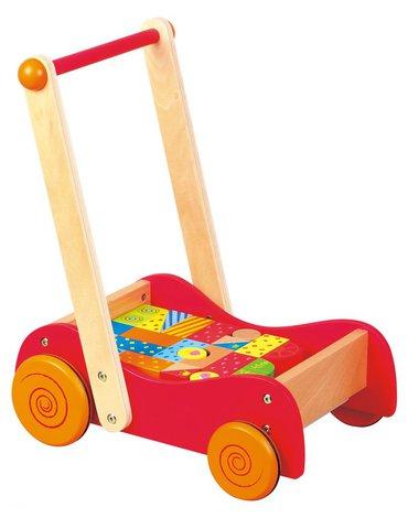 Lelin - Drewniany wózek i pchacz z klockami