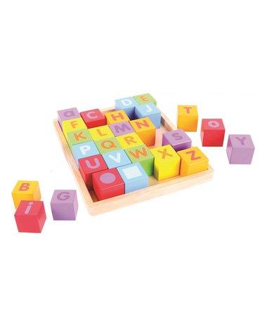 BabyBigjigs - Kolorowe kostki drewniane z literkami