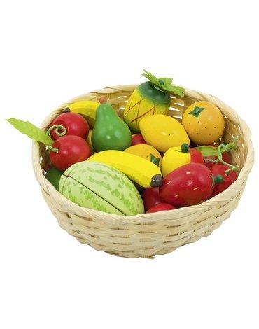 Goki® - Drewniane owoce w koszyku zestaw 23szt
