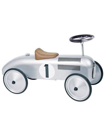 Goki® - Jeździk retro wyścigowy srebrny