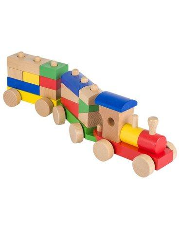 Goki® - Pociąg drewniany z klockami