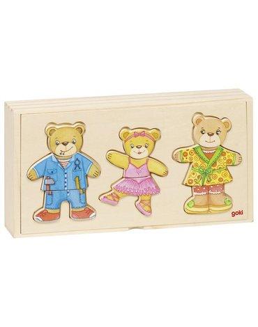 Goki® - Puzzle drewniane ubierz misie