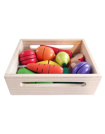 Nefere - Warzywa i owoce na rzepy do krojenia w drewnianej skrzynce