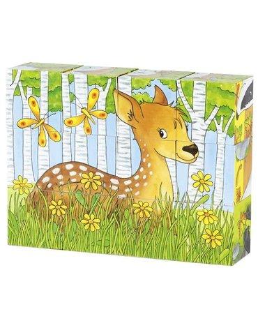 Goki® - Klocki sześcienne zwierzęta leśne