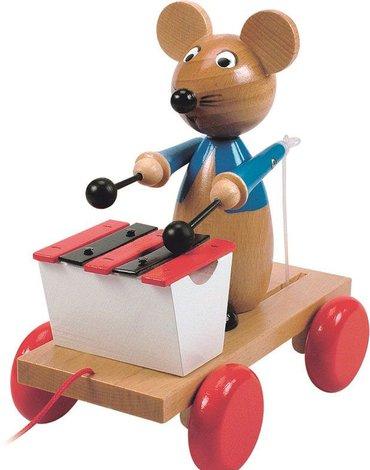 Woody - Grająca mysz klasyczna zabawka drewniana z dawnych lat