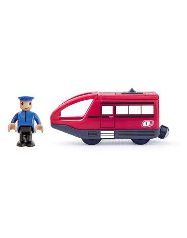 Woody - Lokomotywa z maszynistą na baterie czerwona