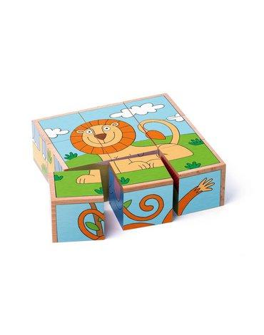 Woody - Puzzle sześcienne kostki zwierzęta egzotyczne