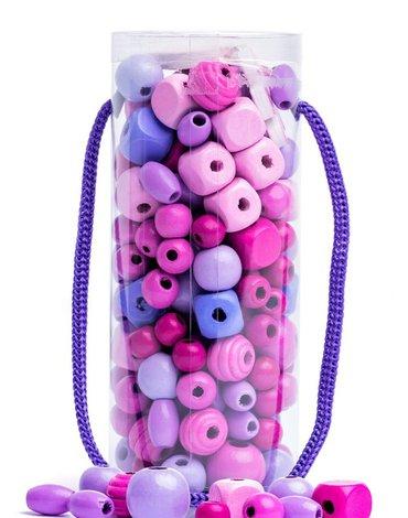 Woody - Koraliki do nawlekania w tubie fioletowo-różowe