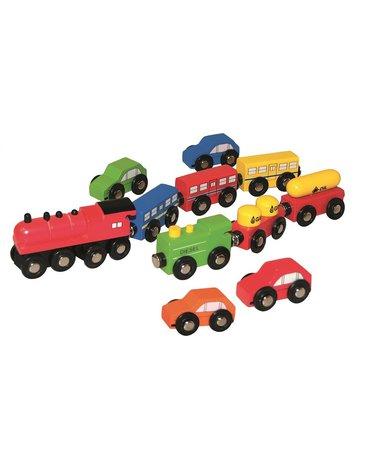 Woody - Zestaw pociągów i autek - 11 szt.