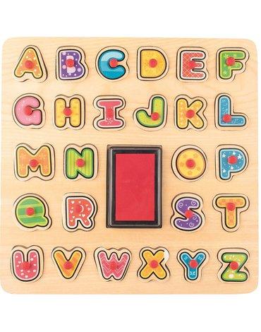 Woody - Puzzle ABC i stempelki z tuszem