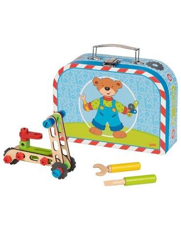 Goki® - Goki klocki do skręcania w walizce z misiem