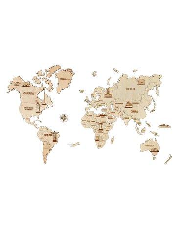 Wood Trick - Mapa świata 3D - drewniane puzzle dekoracja ścienna