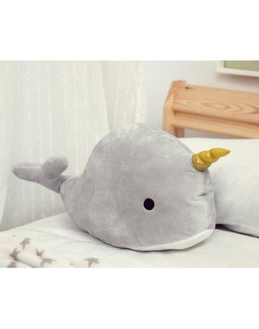 Przytulanka jednorożec wieloryb, szara, Kiokids