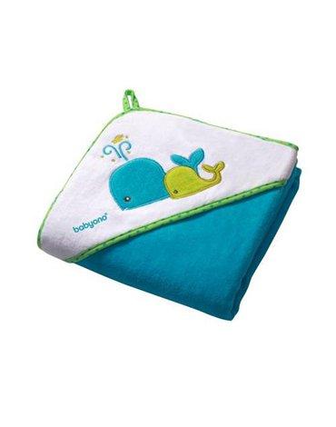BABYONO - 138/02 Okrycie kąpielowe welurowe - ręcznik z kapturkiem 100x100cm turkusowe