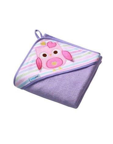 BABYONO - 142/01 Okrycie kąpielowe frotte - ręcznik z kapturkiem 100x100cm fioletowe